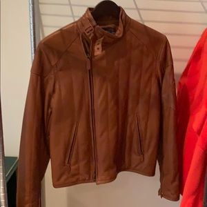 Polo brown leather men's jacket size M